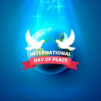 Międzynarodowy dzień pokoju, dwa gołębie z gałązką oliwną i planeta. okładka plakatu. ilustracja wektorowa