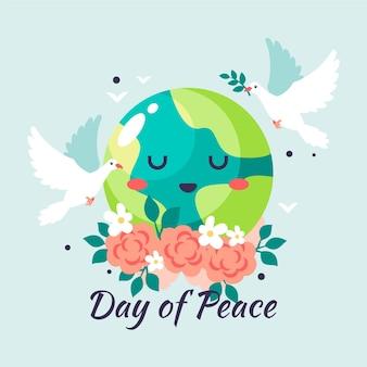 Międzynarodowy dzień pokoju ilustracja z kreskówkową ziemią