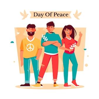 Międzynarodowy dzień pokoju ilustracja z ludźmi