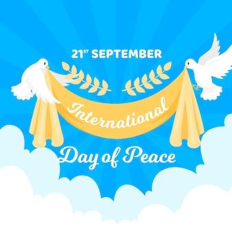 Międzynarodowy dzień pokoju płaska konstrukcja tła