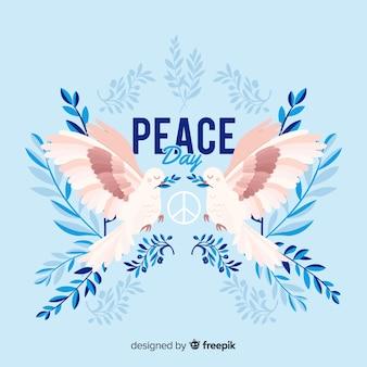 Międzynarodowy dzień pokoju tło z gołębiami