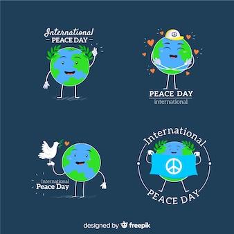 Międzynarodowy dzień pokoju uśmiechnięta ziemia