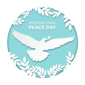 Międzynarodowy dzień pokoju w stylu ilustracji papieru