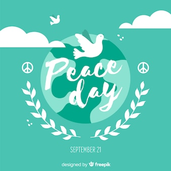 Międzynarodowy dzień pokoju z białą gołębicą