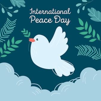 Międzynarodowy dzień pokoju z gołębicą i liśćmi