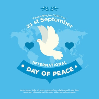 Międzynarodowy dzień pokoju z mapą świata i gołębicą