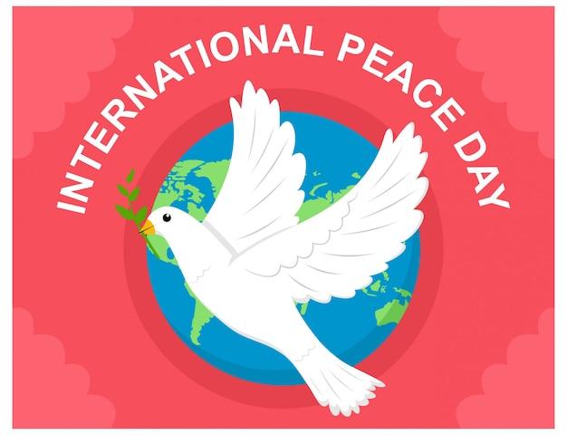 Międzynarodowy dzień pokoju z płaską konstrukcją gołębicy