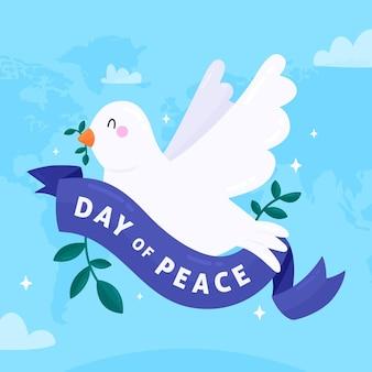 Międzynarodowy dzień pokoju z uroczą gołębicą