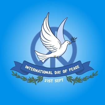 Międzynarodowy dzień pokoju ze znakiem pokoju i gołębicą