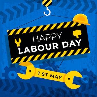 Międzynarodowy dzień pracy płaska konstrukcja