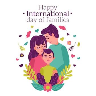Międzynarodowy dzień rodzin w płaskiej konstrukcji