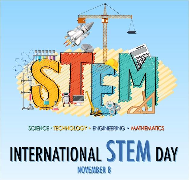 Międzynarodowy dzień stem 8 listopada baner z logo stem
