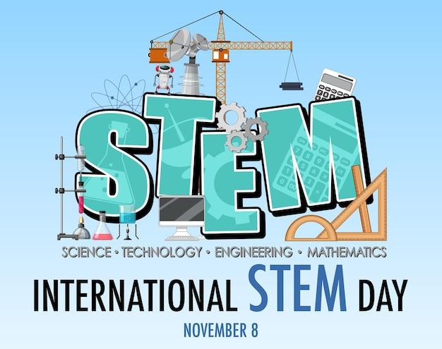 Międzynarodowy dzień stem 8 listopada baner z logo