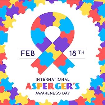 Międzynarodowy dzień świadomości aspergera w płaskiej konstrukcji