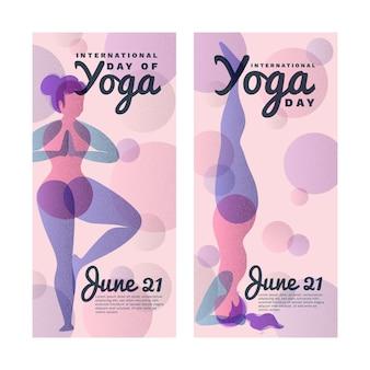 Międzynarodowy dzień szablon transparent jogi