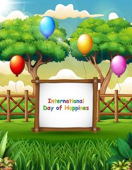 Międzynarodowy dzień szczęścia w tle z naturą