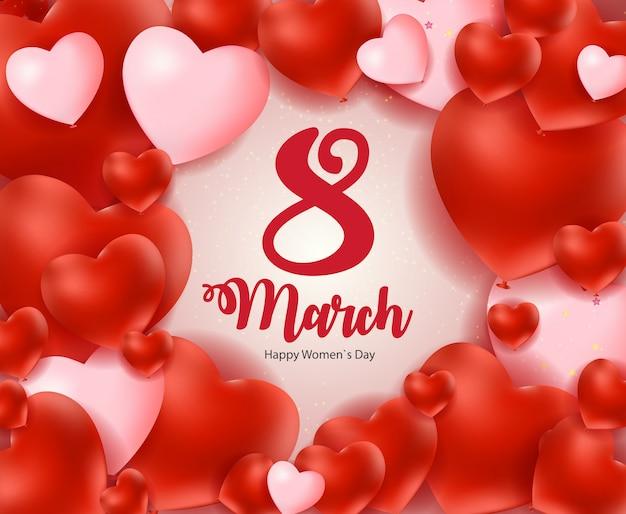 Międzynarodowy dzień szczęśliwego dnia kobiet 8 marca kwiecista kartka okolicznościowa