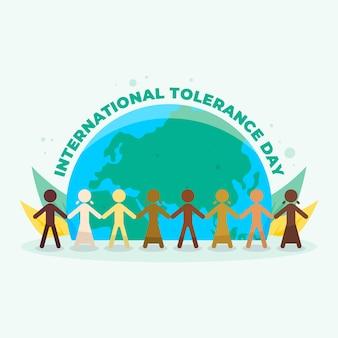 Międzynarodowy dzień tolerancji z męskimi i kobiecymi sylwetkami na tle kuli ziemskiej