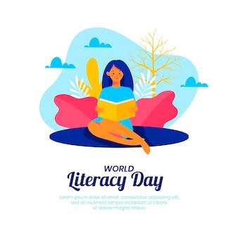 Międzynarodowy dzień umiejętności czytania i pisania z kobietą czytającą książkę