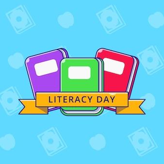 Międzynarodowy dzień umiejętności czytania i pisania z książkami i wstążką płaską ilustracją.