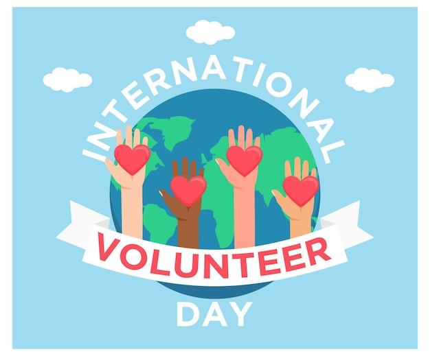 Międzynarodowy dzień wolontariusza z ziemią w płaskiej konstrukcji