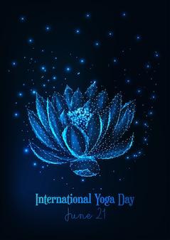 Międzynarodowy plakat dnia jogi ze świecącą niską poli lilią wodną, kwiat lotosu.