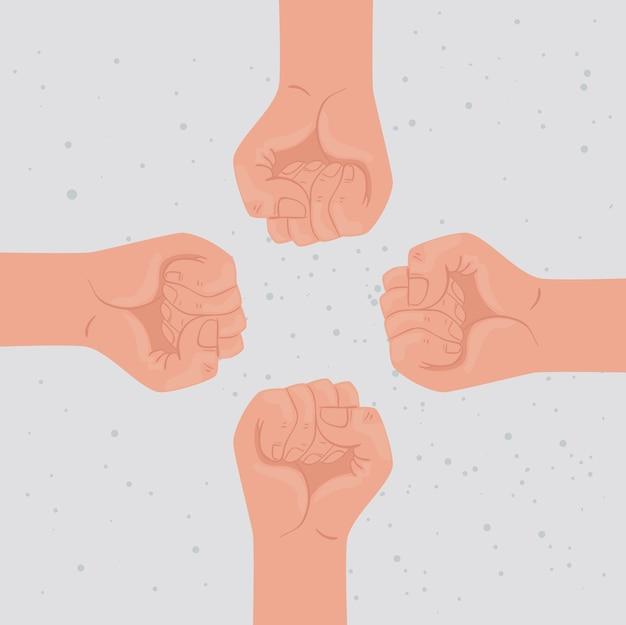 Międzynarodowy plakat dotyczący praw człowieka z pięścią dookoła ilustracji