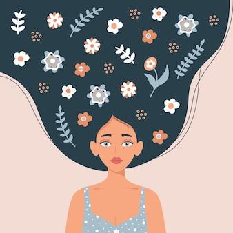 Międzynarodowy plakat lub baner z okazji dnia kobiet na różowym tle portret dziewczyny z podniesionymi długimi włosami