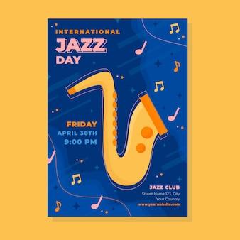 Międzynarodowy plakat pionowy dzień jazzu z saksofonem
