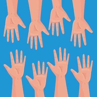 Międzynarodowy plakat praw człowieka z otwartymi rękami ludzie projekt ilustracji