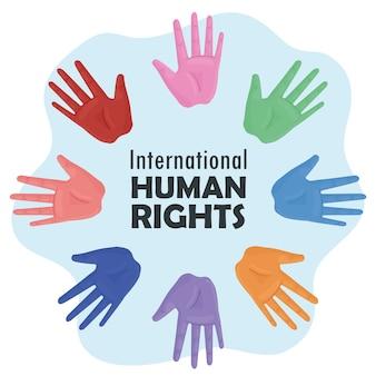 Międzynarodowy plakat z napisami dotyczącymi praw człowieka z kolorami rąk do druku ilustracji