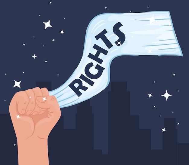 Międzynarodowy plakat z napisem o prawach człowieka z ilustracją walki wręcz