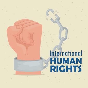 Międzynarodowy plakat z napisem o prawach człowieka z ilustracyjnym projektem łamania kajdanek