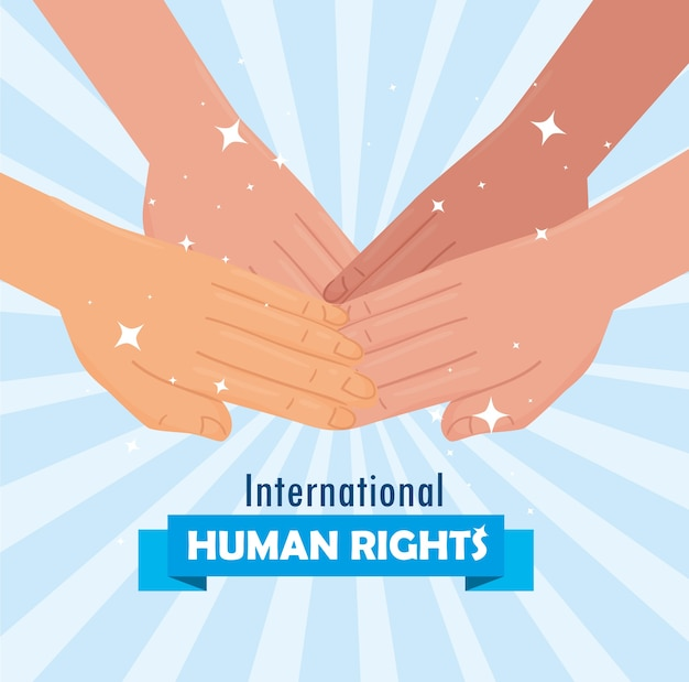 Międzynarodowy plakat z napisem o prawach człowieka z międzyrasowym projektem jedności rąk