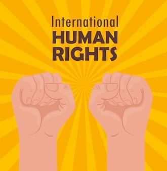 Międzynarodowy plakat z napisem o prawach człowieka z projektem ilustracji pięści rąk