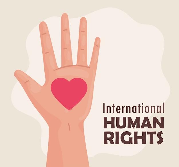 Międzynarodowy plakat z napisem o prawach człowieka z projektem ilustracji
