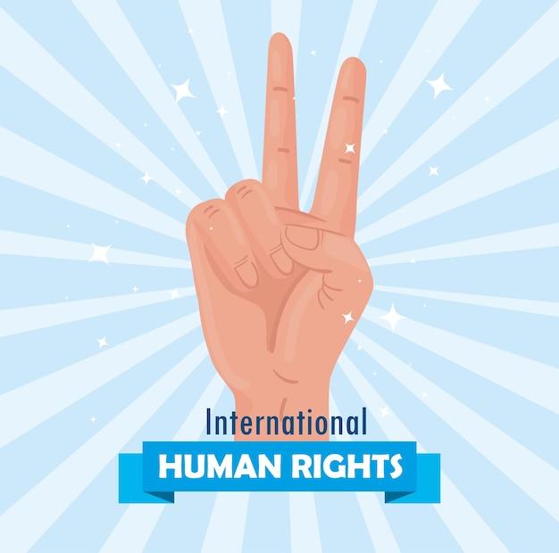 Międzynarodowy plakat z napisem o prawach człowieka z projektowaniem ilustracji sygnału pokoju i miłości