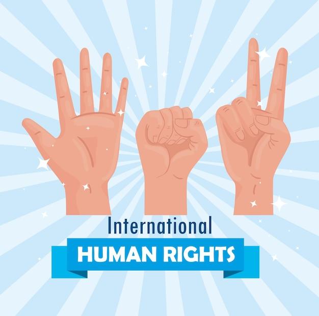 Międzynarodowy plakat z napisem o prawach człowieka z rękami meke sygnalizuje projekt ilustracji