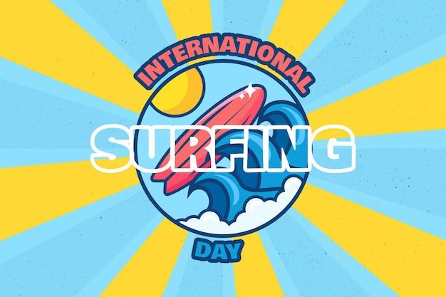 Międzynarodowy projekt transparentu dzień surfingu. letnie imprezy imprezowe i afisz celebracja w stylu retro. wakacje 20 czerwca, aktywne wakacje w tropikach i aktywność wodna na hawajach. ilustracja wektorowa