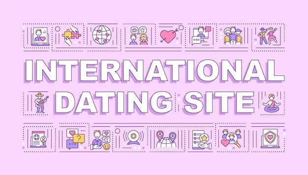Międzynarodowy serwis randkowy baner pojęć słowo. spotkania z nowymi partnerami online. infografiki z liniowymi ikonami na różowym tle. typografia na białym tle. zarys ilustracja kolor rgb