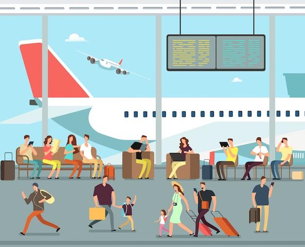 Międzynarodowy terminal lotniczy z siedzącymi i chodzącymi ludźmi. mężczyźni i kobiety, rodziny z dziećmi jeżdżą na wakacje
