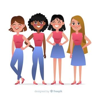 Międzyrasowa grupa kobiet backgrpund
