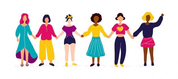 Międzyrasowa grupa kobiet trzymających się za ręce. moc dziewczyny, koncepcja feminizmu. mieszkanie nowoczesny styl ikona ilustracja projektu.