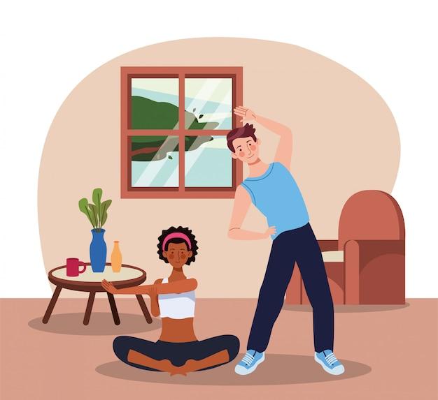 Międzyrasowa para ćwiczy ćwiczenie w domu