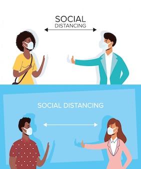 Międzyrasowe osoby noszące maski medyczne i dystans społeczny