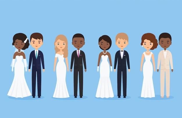 Międzyrasowe państwo młodzi. mieszana nowożeńcy. postać z kreskówki ślubu stać odizolowywam. ilustracja. animowani ludzie rasy białej i czarnej. ikony męskiej, żeńskiej osoby. mieszkanie .