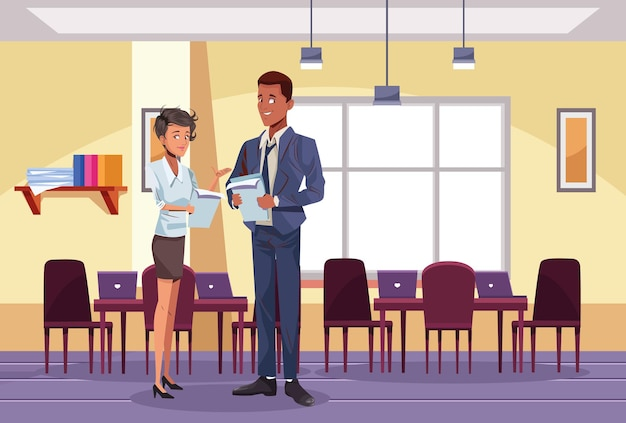 Międzyrasowy biznes para pracowników na ilustracji miejsca pracy