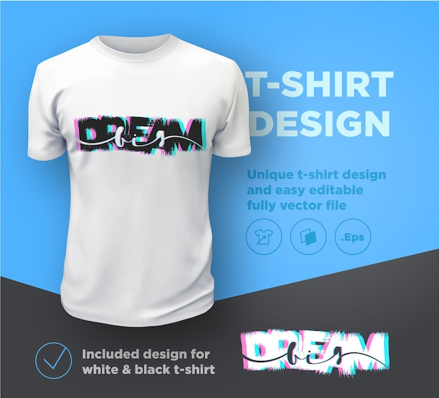 Miej wielkie marzenia. cytuj szablon projektu druku typograficznego na t-shirt.