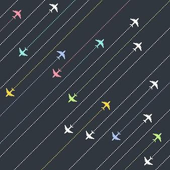 Miejsca docelowe dla samolotów. koncepcja czasu przygody