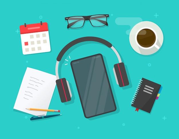 Miejsca pracy biurko z uczeniem i studiuje materiał i wiszącej ozdoby pusty pusty telefon komórkowy lub pracującego stołu mieszkanie kłaść z smartphone ekranem i audio hełmofonami wektorowymi